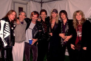 Axl Rose, Charlie Watts, Keith Richards,Mick Jagger, Duff McKagen, Izzy Stradli, and Stephen Adler on the Steel Wheels Tour in 1989 in Los Angeles, Ca,. (Paul Natkin/Image Direct)